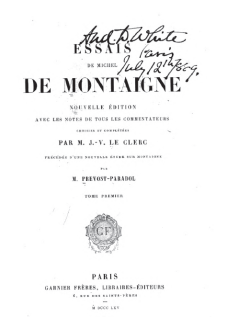 "Title page of Montaigne's Essais, the asame edition that RLS owned: see below ""xxx"""