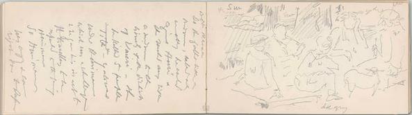 """La Farge's Sketchbook #8, """"Tahiti – 1891, 32v, 33r"""