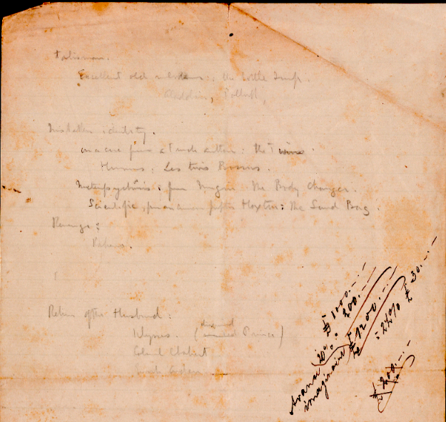 Yale, B 6530: 'List of subjects'